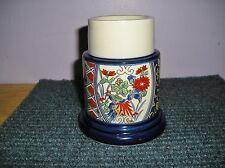 Towle Gailstyn Sutton Hurricane Candle Lamp Blue Orange Bird Flowers Butterfly