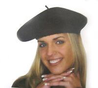 French 100% Wool Black Beret Hat Cap Adult Halloween Costume