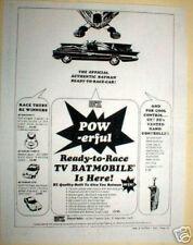 1960's Batmobile Slot car ad by BZ Mfg 1/24th scale Slot car info