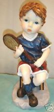 BOY-TENNIS PLAYER/11x5x6-RESIN GARDEN STATUE/INDOOR OR OUT/COLORFUL/DETAILED/NEW
