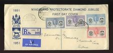 NYASALAND 1951 JUBILEE ILLUST.REGISTERED FIRST DAY COVER...LIMBE + SPECIAL PMK