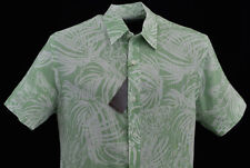 Men's PERRY ELLIS Green White Floral Linen Short Sleeve Shirt Medium M NWT NEW