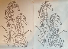 Webster Craft Seahorses iron on embroidery transfer 4 x A4 sheets dated 1991