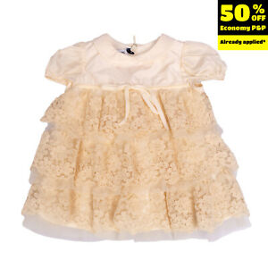 I PINCO PALLINO Tiered Dress Size Size 6M Lace Inserts Floral Bow Cap Sleeve