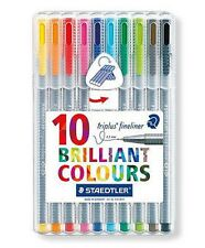STAEDTLER - TRIPLUS - 0.3mm FINELINERS - BRILLIANT COLOURS - SET of 10 colours