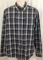 BEN SHERMAN Plaid Iridescent Pearly Snap L/S Western Shirt Size LARGE