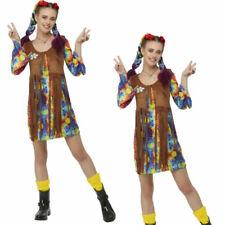 Smiley Hippy Vestido Multicolor 1960s Hippie 60s Disfraz Mujer