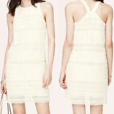 6042c1a924e0c Ann Taylor Loft Cotton Linen Lace Stripe Shift Dress Size 4 4