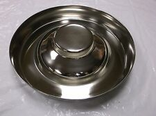 "15"" PUPPY FEEDING SAUCER WHOLESALE SURPLUS ANIMAL PET DOG FEEDER STAINLESS NEW"