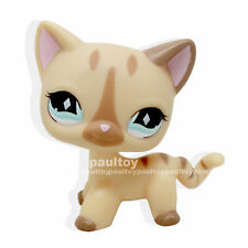 #886 Rare Littlest Pet Shop Short Hair Cat Cream Stripe Kitty Diamond Eyes LPS