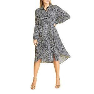 Marina Rinaldi $685 Donata Navy White Polka Dot Print Midi Shirt Dress Size 20