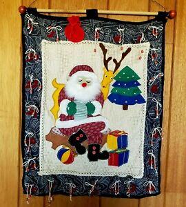 Santas Workshop Advent Calendar Handmade Applique Quilt Felt Wall Hanging