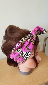 HEAD SCARF HAIR BAND BRIGHT  PINK LEOPARD PRINT BAROQUE  ROCKABILLY STRETCH