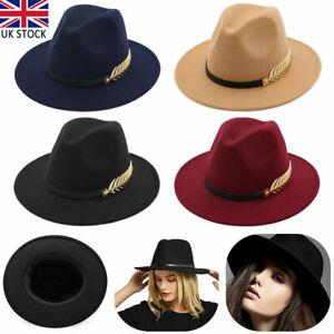 Women Fedoras Hat Woolen Wide Brim Jazz Church Trilby Cap Panama Hats 4 Colors