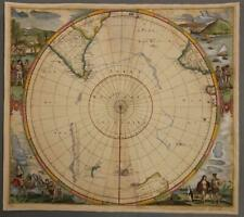 SOUTH POLE ANTARCTICA 1657 JAN JANSSONIUS ANTIQUE ORIGINAL COPPER ENGRAVED MAP