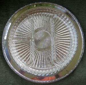 "Vintage Silverplate Oneida ""Brookline"" Serving Tray /w Glass Relish 12.25"""
