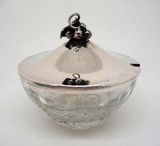 Glasschale mit Deckel 88 Gramm Sterlingsilber 925 mit Traubendekor
