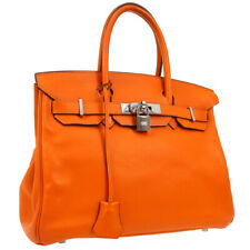 HERMES BIRKIN 30 Hand Bag Purse Orange Veau Swift 85E ⬜K S09434