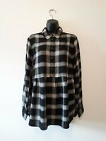 V by Very Womens Black Check Half Placket Dipped Hem Shirt Sizes 8,10,14 BNWT