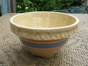 Antique McCoy Pottery Bowl Yellow with Blue and Pink Stripes Art Deco Base
