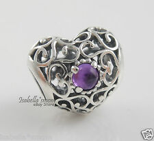 FEBRUARY SIGNATURE HEART Genuine PANDORA Silver/Amethyst BIRTHDAY Charm/Bead NEW