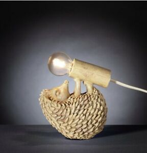 Hedgehog Table/Bedside Lamp Natural Wood Effect Ornament + Light Bulb Home Decor