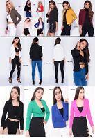 263 Ladies Long Sleeve Cropped Blazer Cardigan Jacket Shrug Bolero Cuff UK 8-16