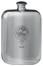 Hay Family Crest Design Pocket Hip Flask 6oz Rounded Polished Pewter