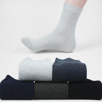 Men Bamboo Fiber Socks Business Anti-Bacterial Deodorant Breathable Long Casual