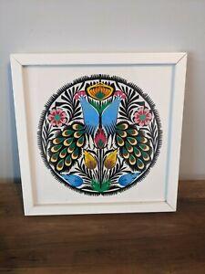 Wycinanki Polish Folk Art Paper Craft Art in Frame 2 Birds Peacocks Picture