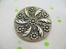 "VINTAGE Picture BUTTON FLOWER & LEAF PINWHEEL SILVER TONE METAL1& 1/16"" ORNATE"