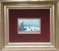ECOLE FLAMANDE du XXe.Moulin en bord de mer.Huile/panneau.9,2x14.Signé.Encadré.