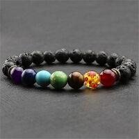 7 Chakra Heilung Balance Perlen Armband Lava Yoga Reiki Gebet Stein Unisex X