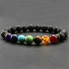 Black Lava 7 Chakra Healing Balance Beads Bracelet For Men and Women SW