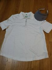 Lot of Tail Tech. Ladies Golf Shirt Size Xlarge White Striped and lavander visor