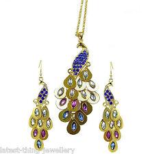 Peacock Necklace Earring Set Gold Blue Green Purple Drop Design