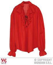 """Mens Red Gothic Steampunk Pirate Larp Shirt Fancy Dress Size M/L Upto 42"""" Inch"""