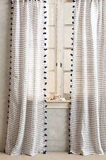 "NEW Anthropologie Pom Tassel Curtain Blue Stripe (SET OF 2 ) 50x96"""
