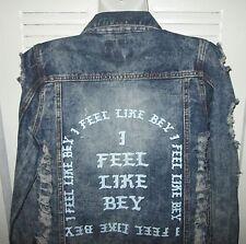 I FEEL LIKE BEY Holey Bey Bleach Fitted Distressed Denim Jean Jacket Jrs XS S