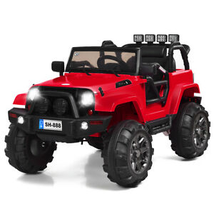 12V Kids Ride On Truck Car w/Bluetooth Remote Control MP3 Music LED Lights Red