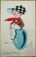 Artist-Signed, Hand-Colored 1923 Art Deco Easter Postcard- Cigarette Smoking Boy