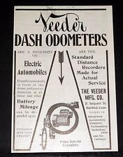 1909 OLD MAGAZINE PRINT AD, VEEDER DASH ODOMETER, ELECTRIC AUTOMOBILE NECESSITY!