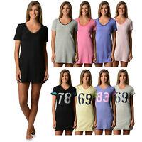 Casual Nights Womens Short Sleeve Cotton Jersey Knit Dorm Sleep Nightshirt Tee