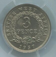 BRITISH WEST AFRICA 3 PENCE 1957H PCGS AU58 ONE-YEAR TYPE