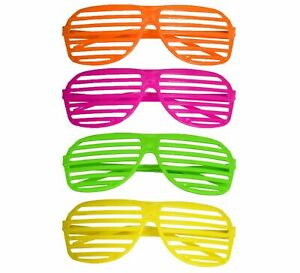 80'S NEON SHUTTER SHADES Glasses Retro Sunglasses Clubbing Night Out Party UK