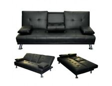 New Faux Leather Manhattan Sofa Bed recliner 3 Seater Modern Luxury Design BLACK