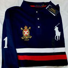 New Men's Polo Ralph Lauren LS Stripe Big Pony & Crest Polo Shirt 3XLT Tall