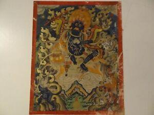 ANTIQUE MONGOLIAN BUDDHIST THANGKA PAINTING A SHRI-DEVI