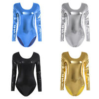 Women Shiny Lingerie Bodysuit Leotard Metallic Dancewear Dress Wet Look Clubwear