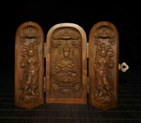 Chinese old boxwood carving Thousand-hand Bodhisattva Guanyin statue box decor